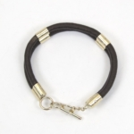 9ct and leather bracelet