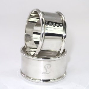 Customised heavy silver napkin rings