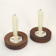 Silver and sapele candlesticks