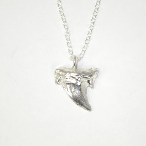 Small silver shark's tooth pendant