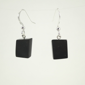 Hand polished jet earrings to match the pendant piece below