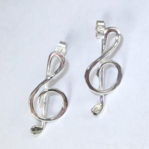 Silver treble clef earrings