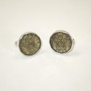 Brass 3d coins in a  silver cufflink mount