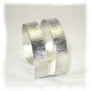 Bark pattern sterling silver  slot cuff