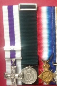 Silver minature medal brooch on medal