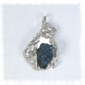 Peacock ore  saltcast silver pendant