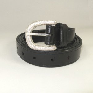 Silver buckle with black leather