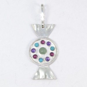 Sterlng silver pendant with aventurine, amethyst, garnet and turquoise stones