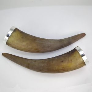 Silver rings or rims for cow horns - drinking vessels
