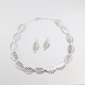 Silver leaf necklace and earrings