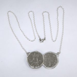 Dual/ Twin 50p coin mount in silver