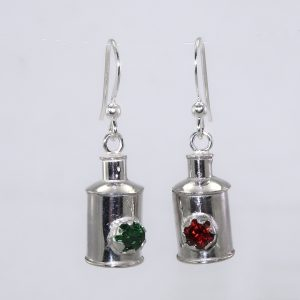 Silver navigation light earrings