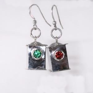 Silver navigation lantern earrings