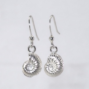 Tiny silver ammonite earrings