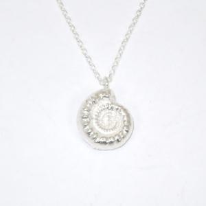 Solid silver ammonite pendant