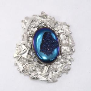 Fused silver pendant iwth blue window druzy