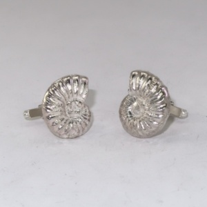 Solid silver ammonite cufflinks