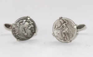 Roman coins mounted in silver cufflinks