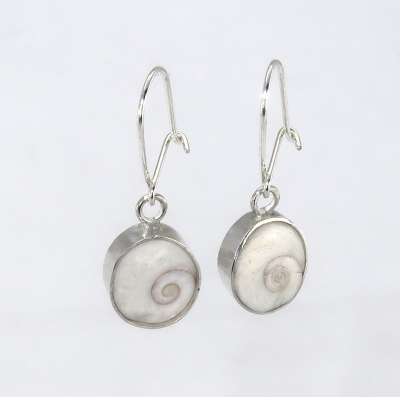 Pebble shell fossil earrings