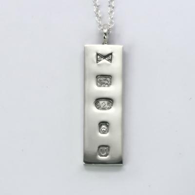 Sterling silver ingot pendant hallmarked 2019