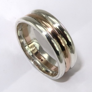 9ct red gold and silver ring