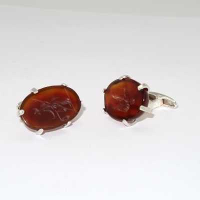 Carnelian intaglio cufflinks