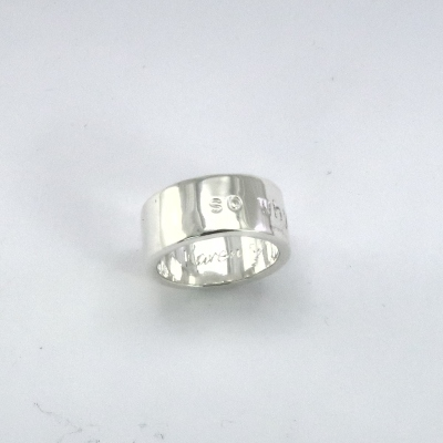 Punched and engraved silver ring