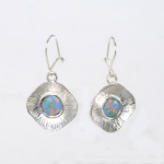 Silver imiitation opal earrings