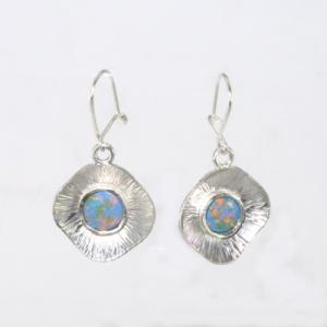 Silver imiitation opal earrings
