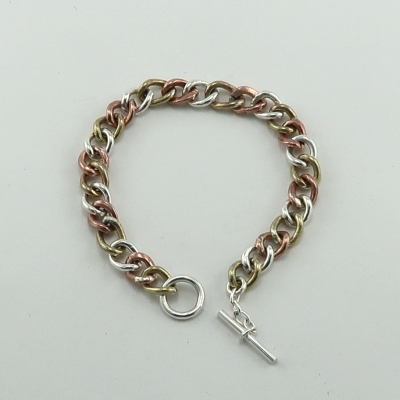 Mixed metal curb chain bracelet