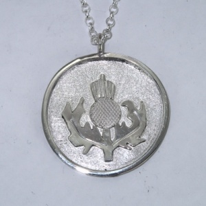 Silver thistle pendant