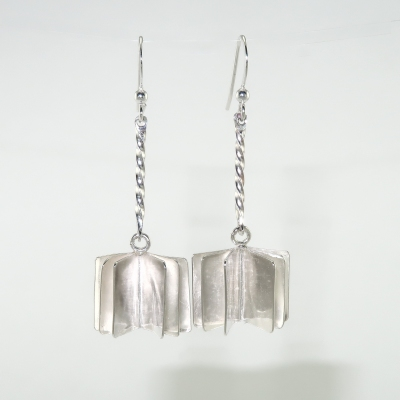 Book style silver earrings