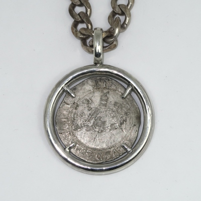 SIlver coin mount for a silver shilling