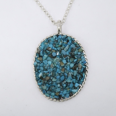 Silver turquoise chip pendant