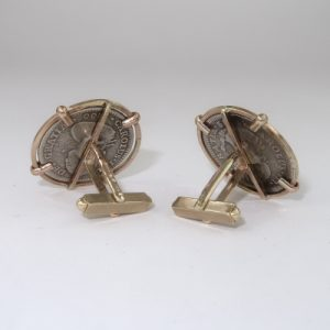 Real coins in gold cufflink settings - rear