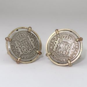 Real coins in gold cufflink settings