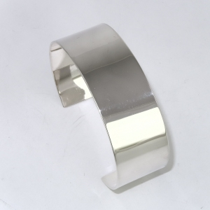 Broad silver band bracelet